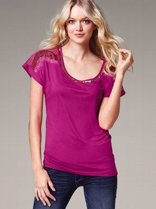 Victoria's Secret Dream Tees Embellished Scoopneck Tee