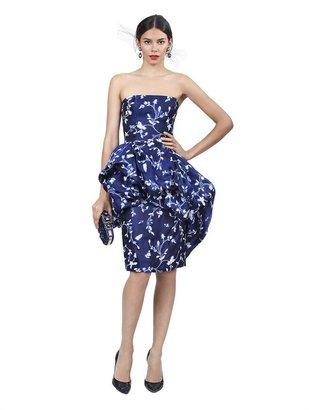 Oscar de la Renta Strapless Bubble Hem Dress
