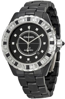 Chanel J12 Automatic Black Diamond Dial Black Ceramic Men's Watch