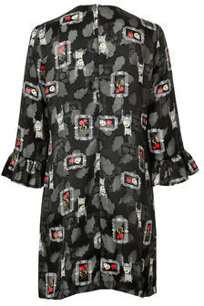Anna Sui Ruffle Front Printed Silk Dress