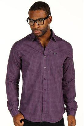 RVCA Borealis L/S Slim-Fit Woven Shirt (Plum) - Apparel