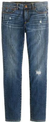 J.Crew Midrise toothpick jean in distressed indigo