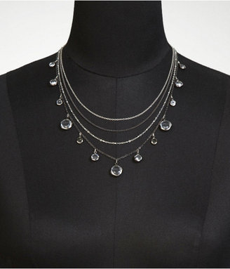 Express Layered Chain And Faceted Stone Necklace