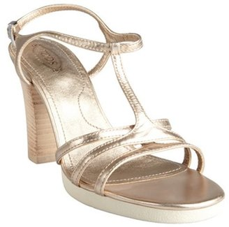 Tod's pale gold leather t-strap stacked heel sandals