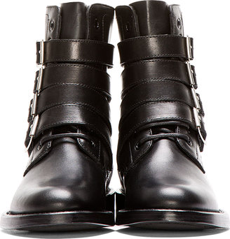 Saint Laurent Black Studded & Buckled Leather Rangers Boots