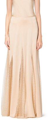 Michael Kors Satin Charmeuse and Chantilly Lace Maxi Skirt