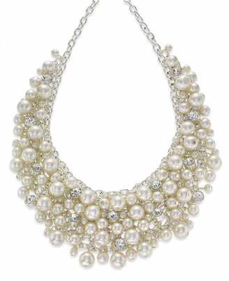 """Charter Club 16"""" Silver-Tone Glass Pearl Cluster Bib Necklace"""