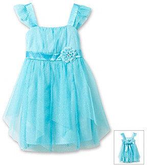 Amy Byer Girls' 4-6X Aqua Flutter Sleeve Empire Waist Dress