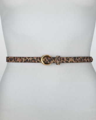 Rivette Leopard-Print Leather Belt