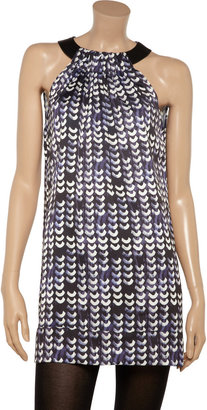 Cut25 Leather-trimmed printed crepe dress