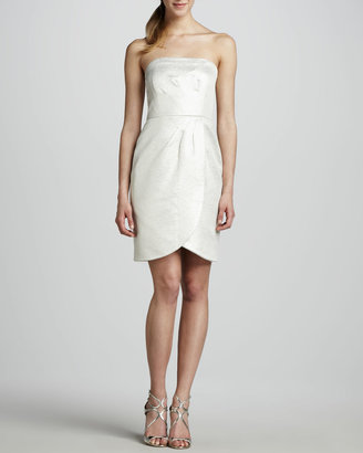 Shoshanna Strapless Faux-Wrap Jacquard Dress