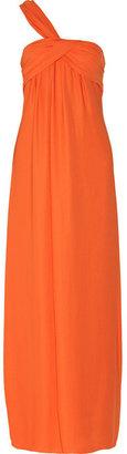 Halston Asymmetric draped georgette gown
