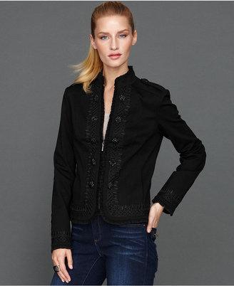 INC International Concepts Jacket, Lace-Trim Ruffle-Front