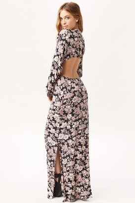 Blue Life V-Neck Bell Sleeve with Twist Dress in Burgundy Flower $176 thestylecure.com
