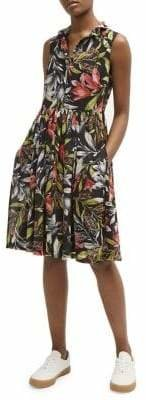 French Connection Sleeveless Tropical Shirt Dress
