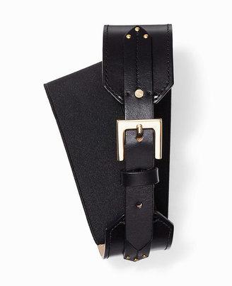 Ann Taylor Wide Stretch Leather Tab Belt