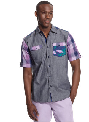 Sean John Big and Tall Miami Blocked Woven Shirt