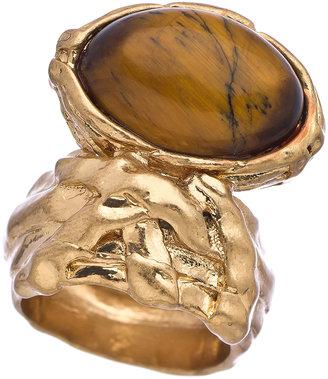 Blu Bijoux Gold and Tiger Eye Scarab Ring