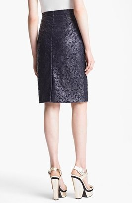 Erdem 'Embroidery Anglais' Faux Leather Pencil Skirt