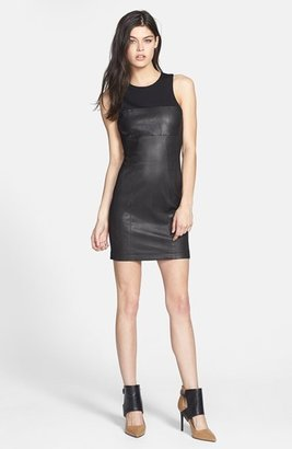 Paige 'Scarlet' Leather Front Body-Con Dress