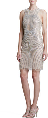 Naeem Khan High-Neck Ray-Beaded Cocktail Dress