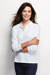 Lands' End Women's Tall Pima Polo Shirt-White $45.50 thestylecure.com