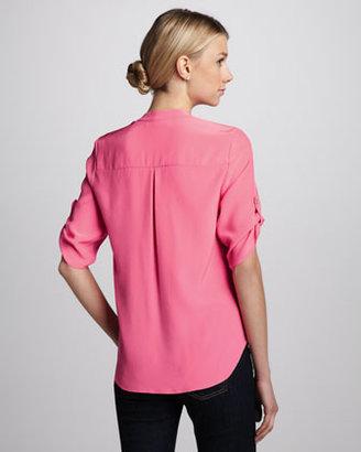 Amanda Uprichard Staci Tab-Sleeve Blouse