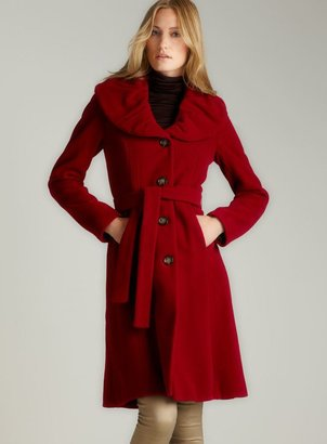 Calvin Klein Red Ruched Collar Wool Coat