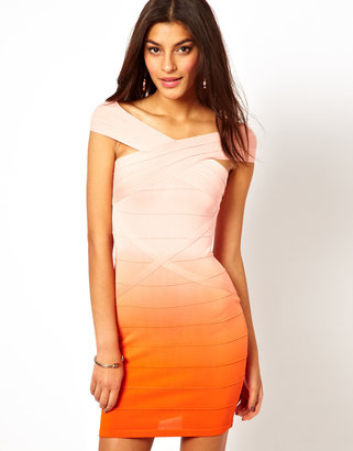 Lipsy Bandage Bodycon Dress in Ombre