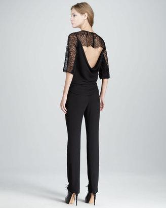 BCBGMAXAZRIA Lace-Top Low-Back Jumpsuit