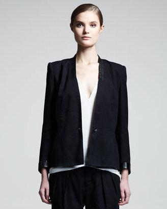 Helmut Lang Cove Leather-Trim Suit Jacket