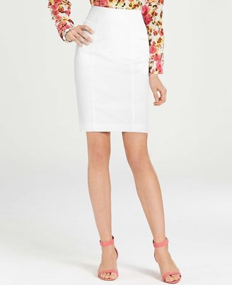 Ann Taylor Tall White Stretch Cotton Twill Madison Skirt