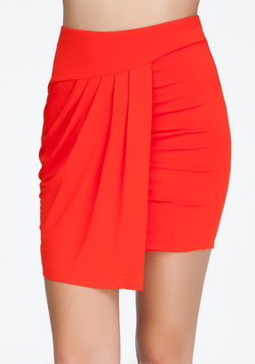 Bebe Asymmetric Jersey Wrap Mini Skirt
