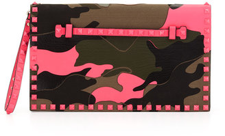 Valentino Rockstud Camouflage Clutch Bag, Multi