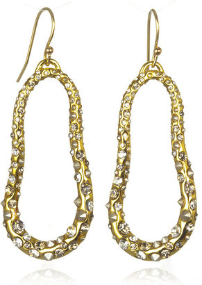 Alexis Bittar Gold Crystal Encrusted Small Oval Earrings