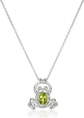 "Amazon Essentials Sterling Silver Genuine Peridot Frog Pendant Necklace 18"""