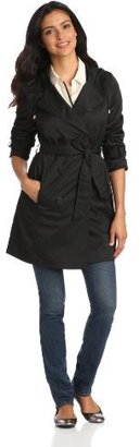 T Tahari Women's Morley Water-Resistant Hooded Double-Breasted Trench Coat