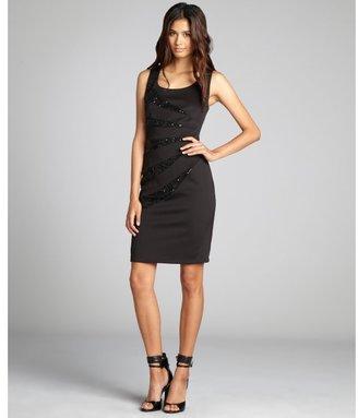 R & M Richards R&M Richards black sequin panel sleeveless stretch sheath dress