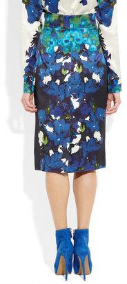 Erdem Dinah printed silk-satin pencil skirt