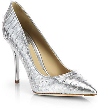 Brian Atwood Joelle Snake-Embossed Metallic Leather Pumps