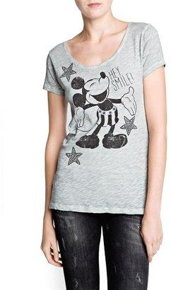 MANGO Rhinestone Disney print t-shirt