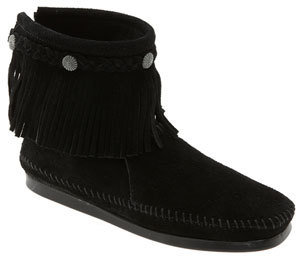 Women's Minnetonka Fringed Moccasin Bootie $59.95 thestylecure.com