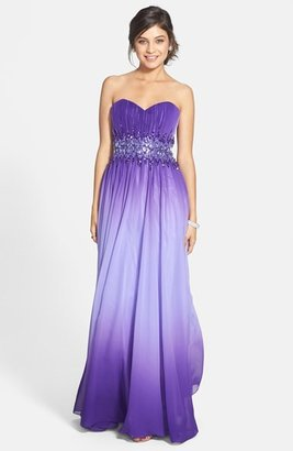 Sean Collection Beaded Waist Strapless Ball Gown