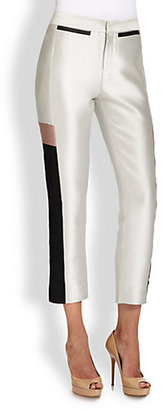 Raoul Leather-Inset Satin Ankle Pants