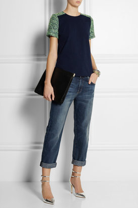 J.Crew Cotton-jersey and tweed top