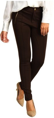MICHAEL Michael Kors Structured Knit Seamed Pant w/ Zips (Chocolate) - Apparel