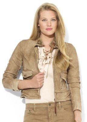 Lauren Ralph Lauren Plus Leather-Trimmed Denim Jacket
