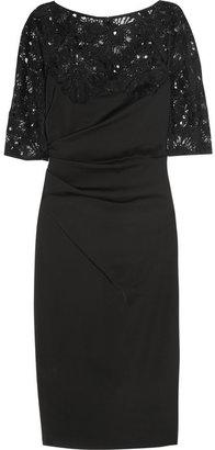 Lela Rose Lace and cotton-blend dress