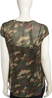 Romeo & Juliet Couture Camouflage-Print Studded Tank, Green