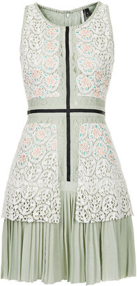 Topshop *LIMITED EDITION Pleat Crochet Dress